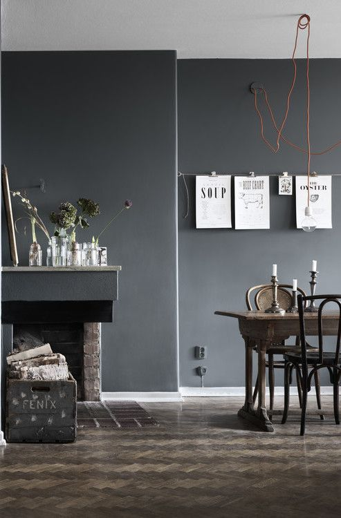 Dark walls and a mix of chairs / corded pendant inspiration