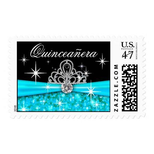 Quinceanera Sparkling Bling Tiara aqua Postage Stamp