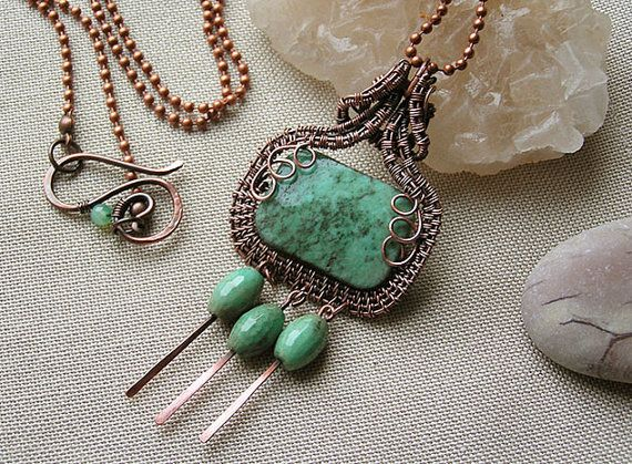 Copper pendant with green agate