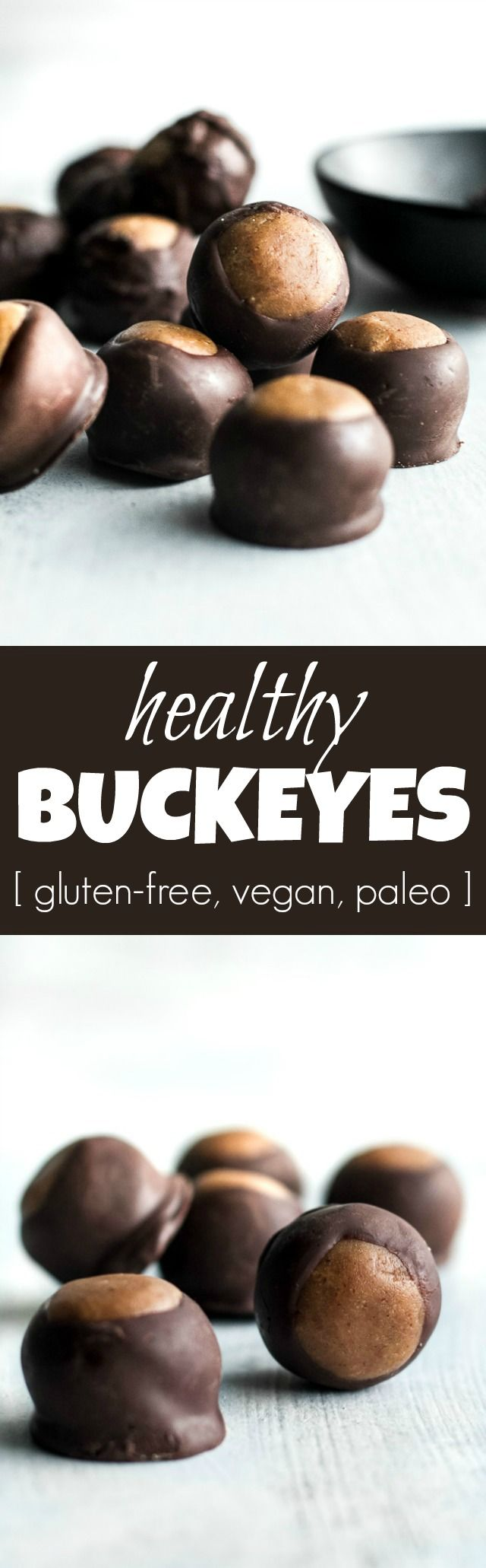 You won't miss the butter or sugar in these healthy buckeyes! They're made with wholesome ingredients like coconut flour and maple syrup, and make a delicious alternative to a traditional favourite! {gluten-free, vegan, paleo} | runningwithspoons.com
