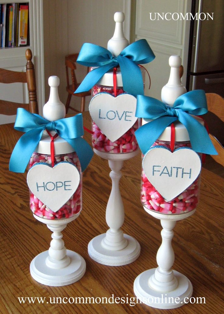 .{ Valentine's Apothecary Jars } fill with Holiday candy