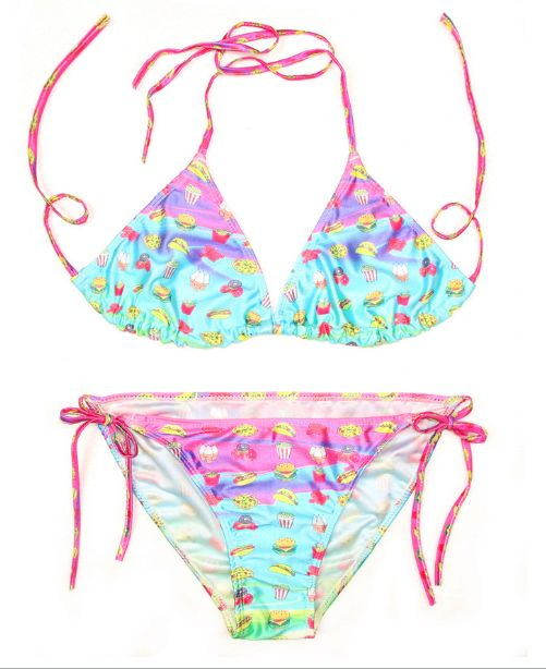 Food Emojis Print Triangle Bikini Bathing Suits
