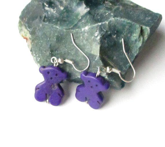 Teddy Bear Earrings  Bear Earrings Purple Teddy by BijiJewelry