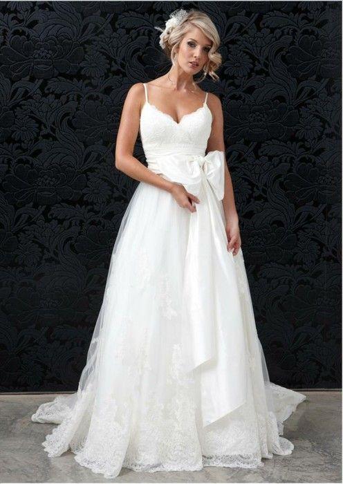 Custom made spaghetti straps wedding dress