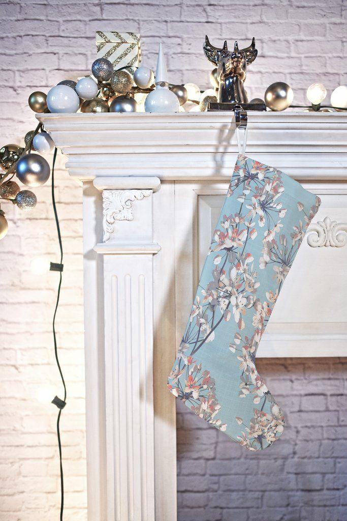 Emanuela Carratoni Delicate Flowers Pattern on Light Blue Stocking | Deny Designs