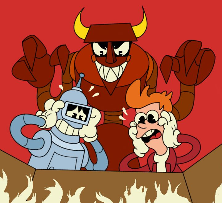 Bender And Fry In Dont Deal With The Robot Devil Crossovers And