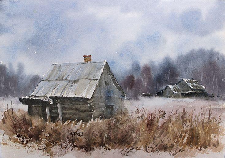 Пейзаж «Заброшенные места» бумага, акварель, работа Екатерины Губиной