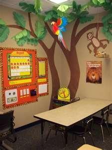 Lots of jungle themed classroom pics
