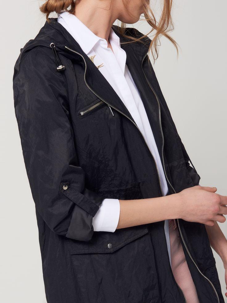 Черная парка из блестящего материала, Куртки, плащи, черный, MOHITO