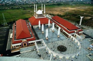 The Great Mosque of Central Java (Masjid Agung Jawa Tengah) is a mosque in the city of Semarang, Central Java.The mosque complex covers 10 hectares (25 acres). There are three central buildings arranged in the shape of a U, with the domed central mosque at the bottom of the U; all buildings have pitched, tiled roofs, while the central mosque has four slim minarets.