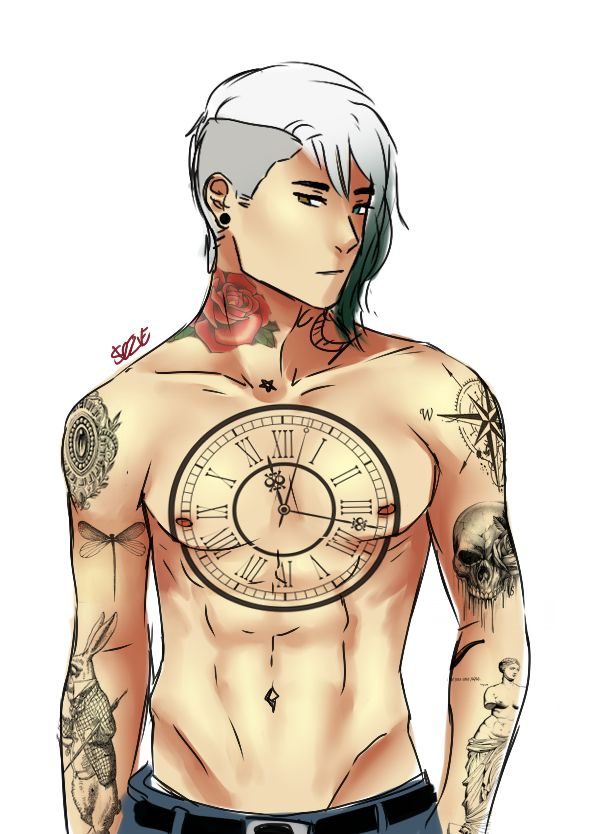The tattoos that i've imagined to the AU Lysander xD i want more in his belly but i can't think of anything ;-;