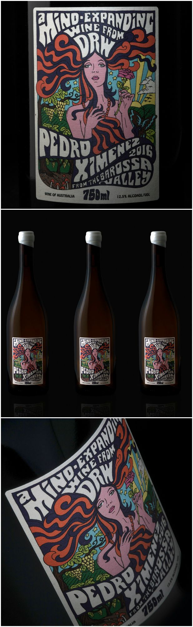 A Psychedelic Wine Label for a Boutique Wine Producer in South Australia Design Agency: Athlete Brand / Project Name: DRW Pedro Ximenez Location: Australia Category: #Wine #drinks  World Brand & Packaging Design Society