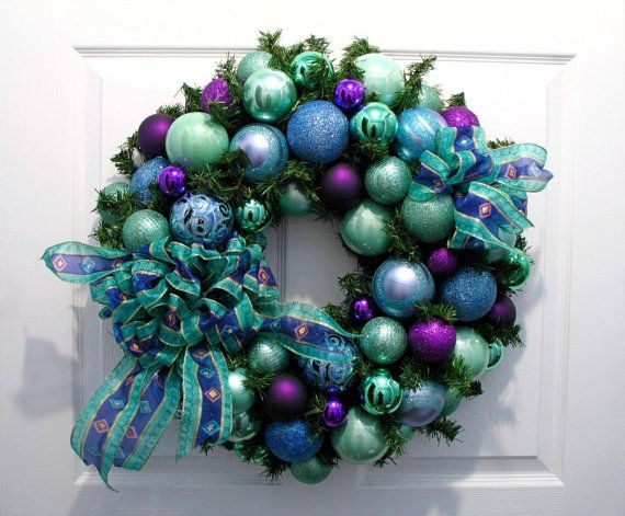 Christmas Wreath / Christmas Decor / Aqua by englishrosedesignsoh, $149.00