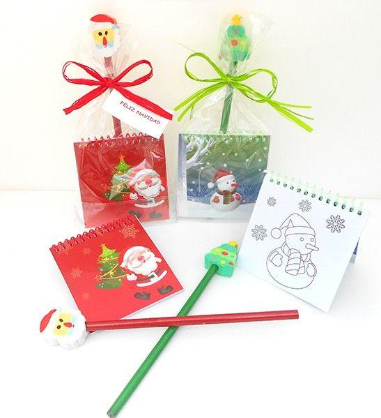 regalos para navidad detalles navideos lpiz con goma motivos navideos ms libreta con