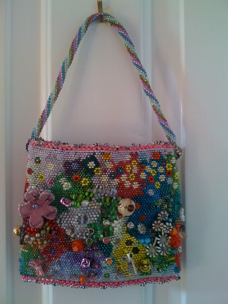 Other side of beaded evening bag