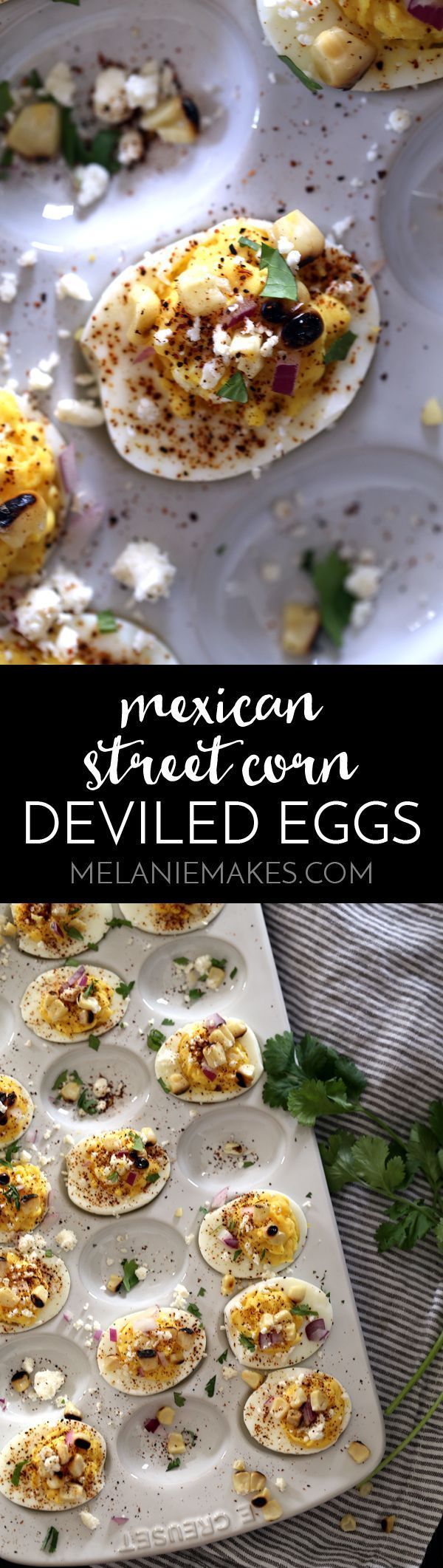 These Mexican Street Corn Deviled Eggs are guaranteed to be the talk of your next gathering! Traditional deviled eggs are garnished with feta cheese, grilled corn, red onion, chili powder and cilantro to create one amazing bite size appetizer.