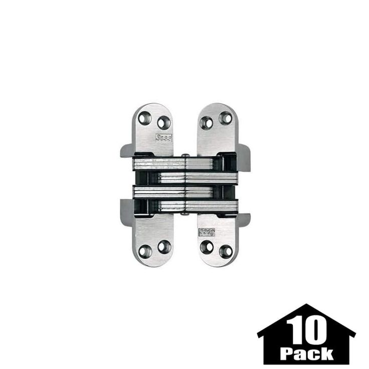 "Soss 218-10PACK 4-5/8"" High Invisible Hinge for Heavy Duty - 10 Pack Satin Chrome Cabinet Hinges Inset Hinges Invisible Hinges"
