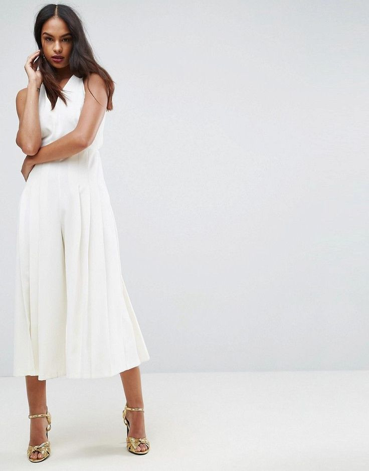 ASOS Jumpsuit with Pleated Culotte and Back Detail - White