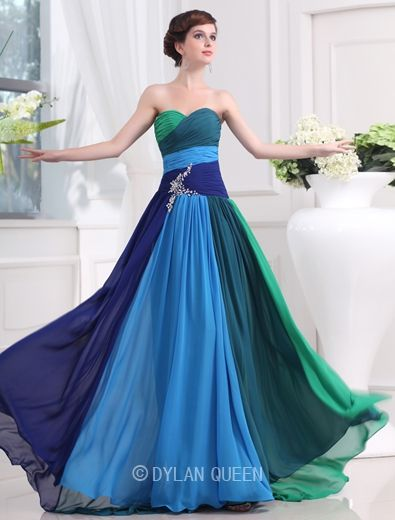strapless long colorful pleated evening dress