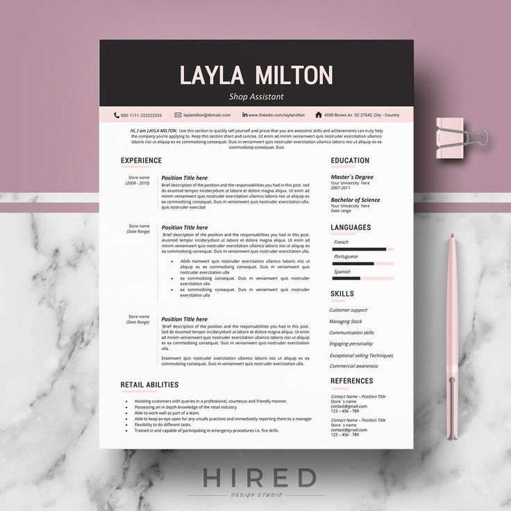 modern resume template for word layla 100 editable instant digital download - Resume La Science Des Reves