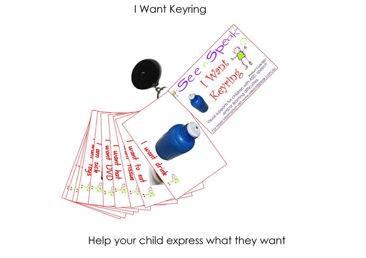 Basic wants and needs visual photographic supports on a keyring to help those with Autism, language and learning difficulties communicate what they need.