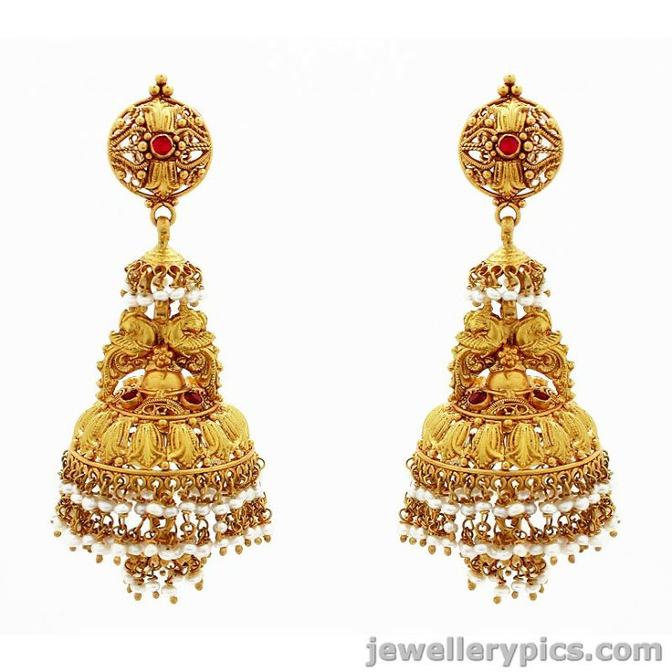 Antique Gold Jhumka Earrings | Gold Jhumka or buttalu from GRT jewellers