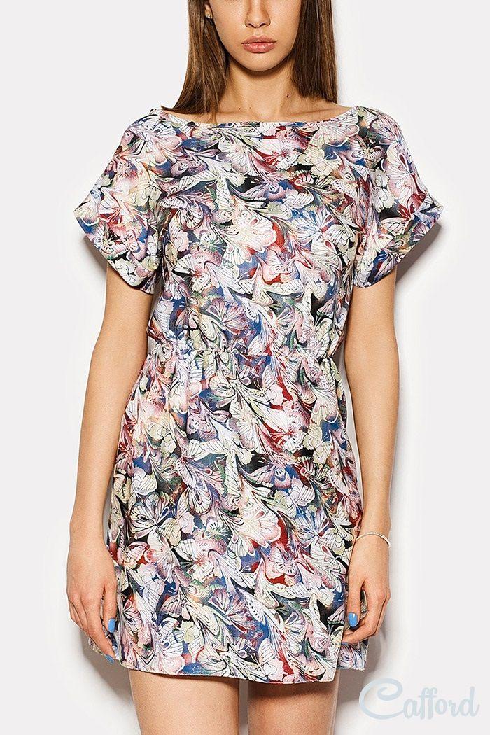 Платье из штапеля с резинкой на талии Fantasy 1504-2663 Разноцветный принт купить в Киеве | фото