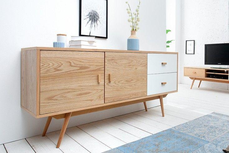Stylisches Echt Eiche Sideboard Hygge 150cm Skandinavisches Design