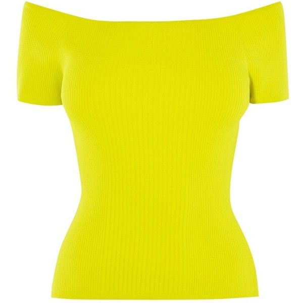 Karen Millen Knitted Off The Shoulder Top (440 HRK) ❤ liked on Polyvore featuring tops, lime, lime green crop top, lime green top, cropped tops, yellow off shoulder top and yellow bandeau top