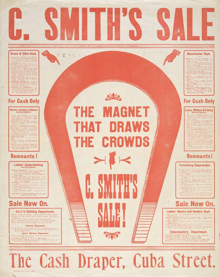 C Smith Ltd, The magnet that draws the crowds. C. Smith's sale!, ca. 1906, Letterpress 570 x 440 mm, Printed Ephemera Collection, Alexander Turnbull Library.