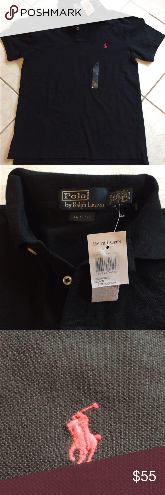 New slim fit men's black polo shirt sz M Polo by Ralph Lauren sz Medium slim fit.  Short sleeve. NWT Polo by Ralph Lauren Shirts Polos