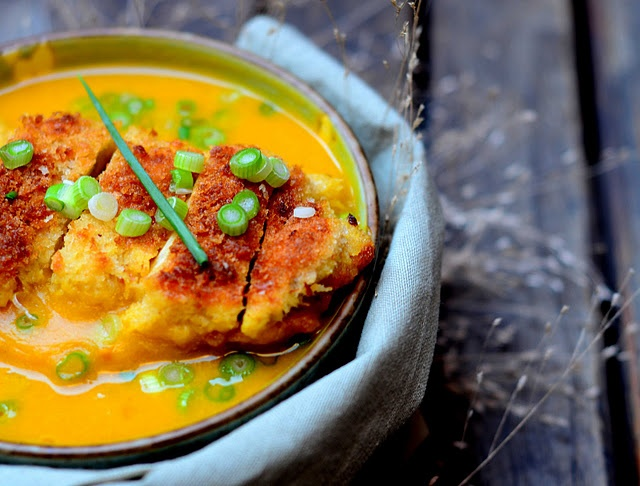 squash soup with panko crusted chicken