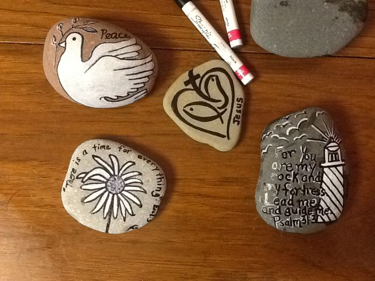Inspirational christian rocks painted with sharpie paint for Paint pens for wood crafts