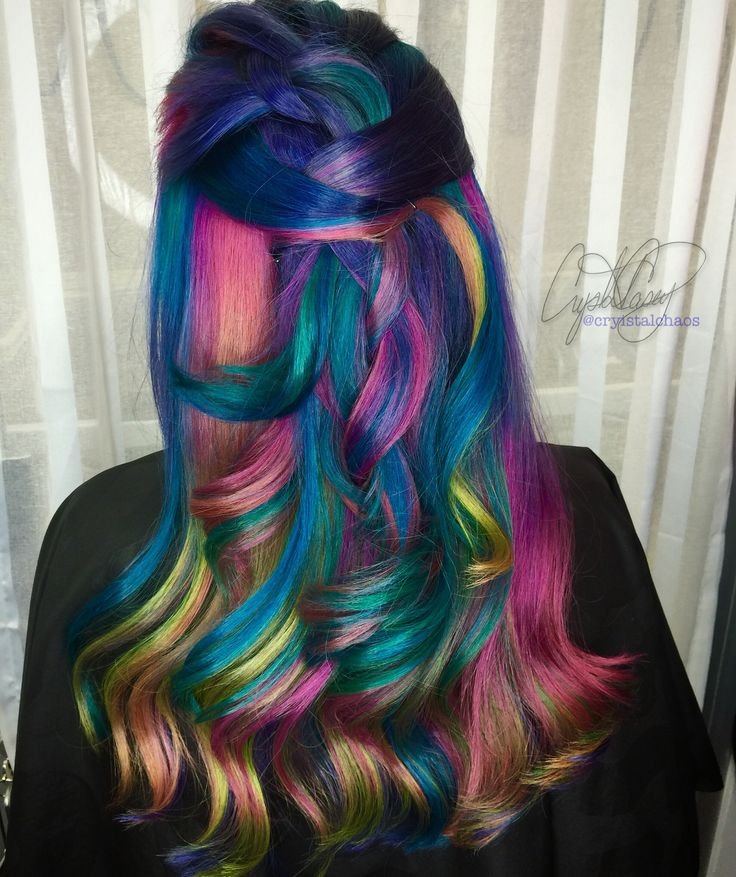 Rainbow Hair Instagram @CryistalChaos #virginiabeach #mermaidhair #hairdye #braid #rainbowhair @hairtips #pyarmidcolors