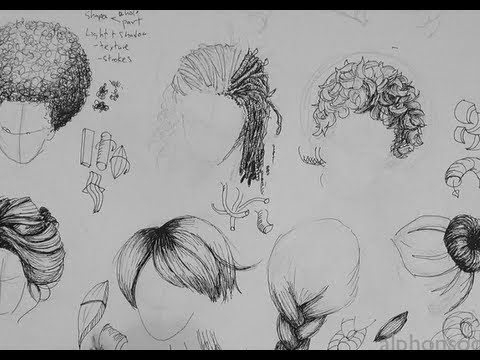 Tutorial for drawing hair with a pen  Lots of different types of hair