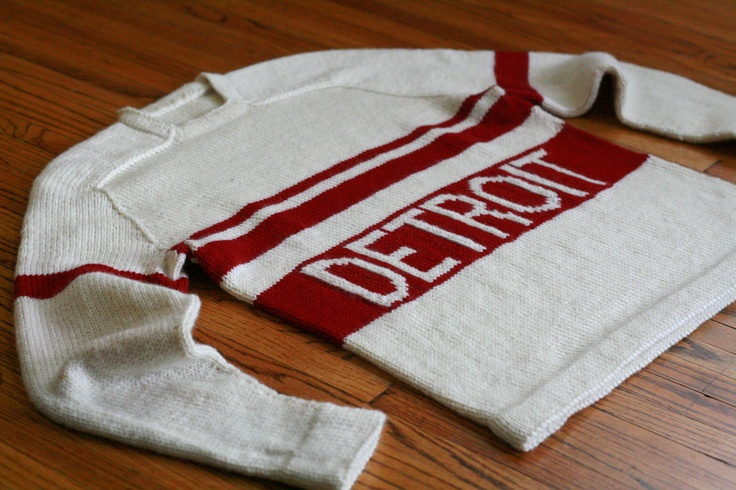 1920s style vintage Detroit Red Wings hand knit sweater based on EZ's Seamless Hybrid pattern.