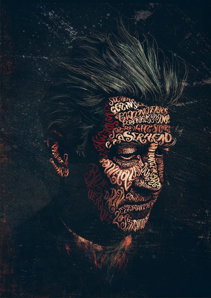David Lynch Typographic Portrait by Peter Strain