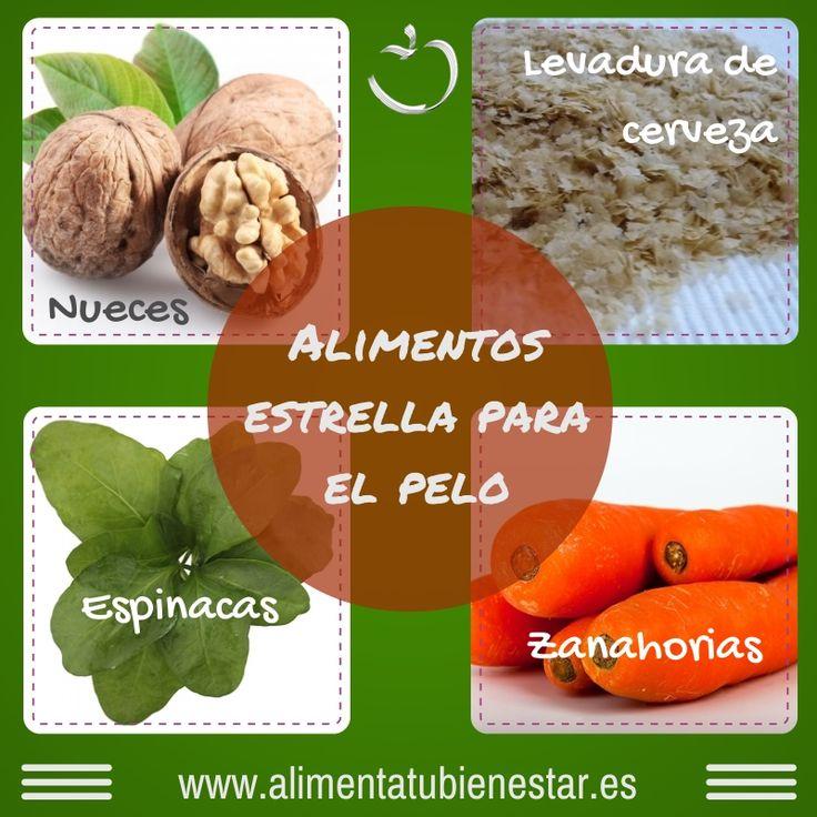Alimentos estrella para el #pelo: nueces, levadura de cerveza, espinacas, zanahorias #alimentatubienestar