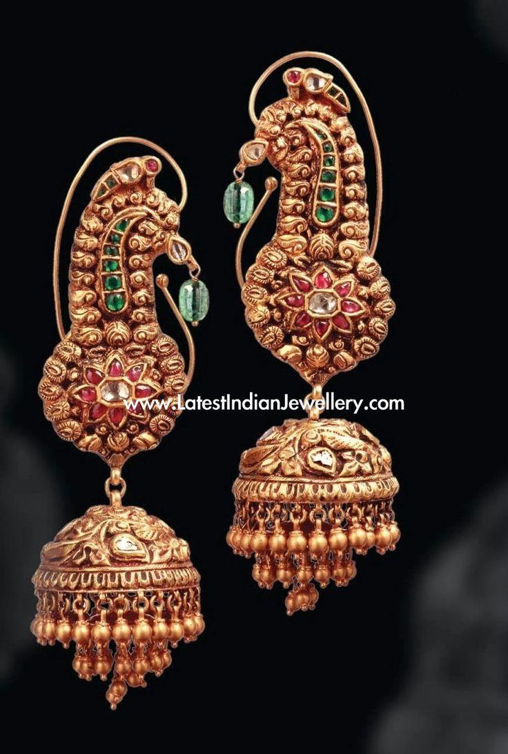 Temple Jewellery Gold Jhumkas