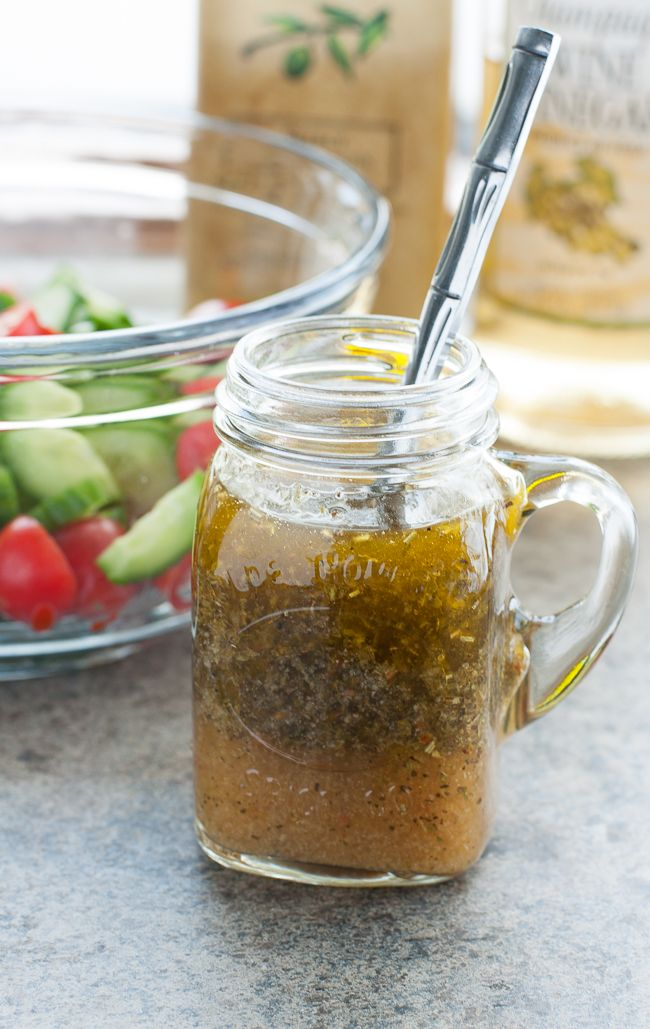 This uber easy Homemade Italian dressing is so fast and flavorful, you'll never buy pre-made dressing again!