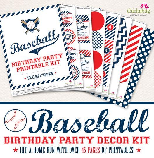 Baseball Birthday Party Printable Decor Kit (Digital File) (($))