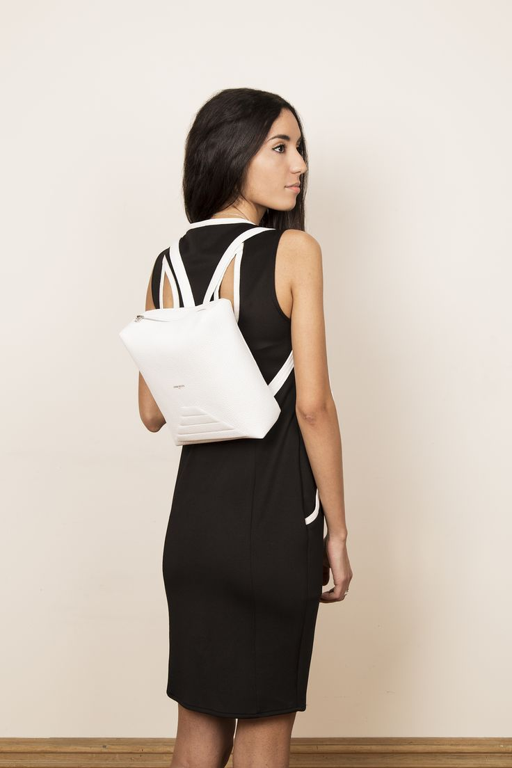 Model with our leather backpack MINIMI. www.jeromebocchio.com