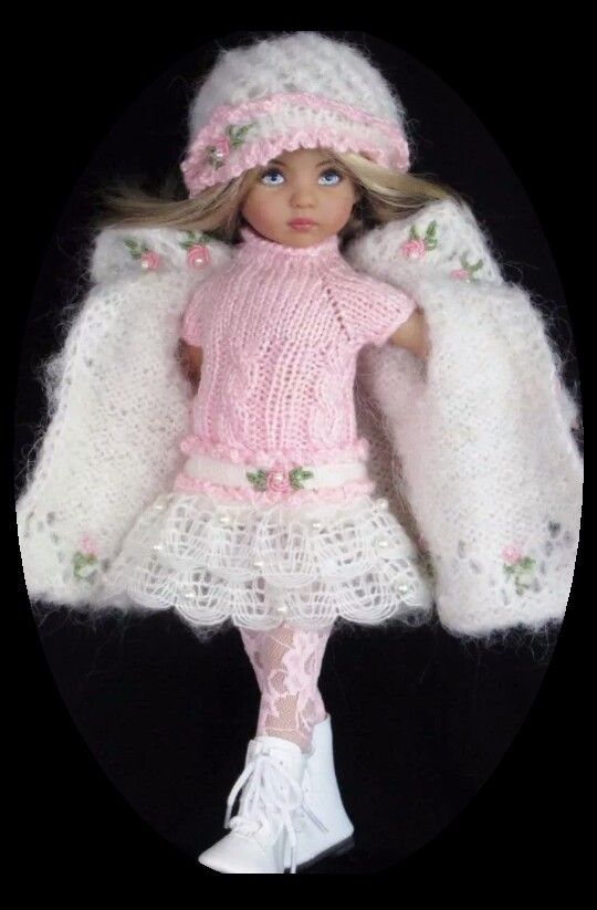 Handknit Mohair Coat, dress set made for Effner little darling dolls