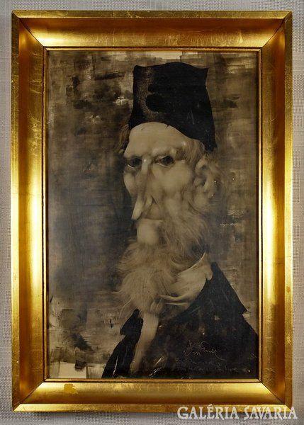"""<p>Szász Endre festőművész / 1926-2003/ férfi portréja, régebbi korszakából. A képen a szignó alatt a festő kézírásával """" Pöröj Imrének tisztelettel """" felirat található.</p><p>Mérete kerettel: 49,5cm x 33,5cm</p>"""