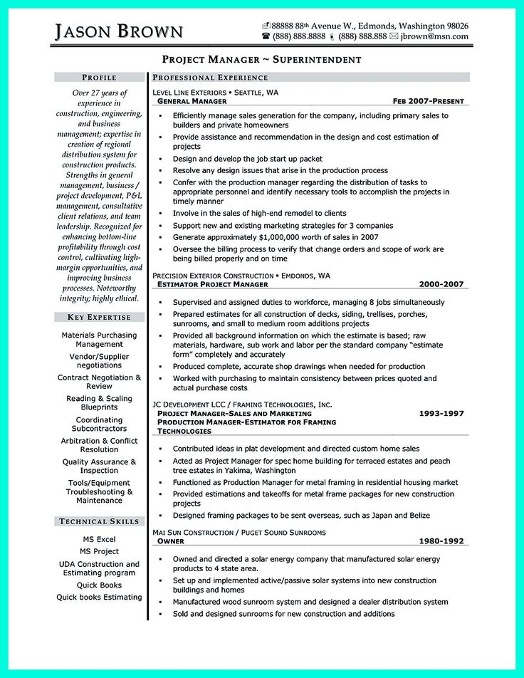 Construction superintendent resume can be in simple design