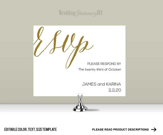 Editable Color Names Date Size Wedding RSVP Postcard TemplateWorks With Microsoft