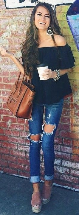 #summer #preppy #outfits |  Black Bardot Top + Ripped Jeans