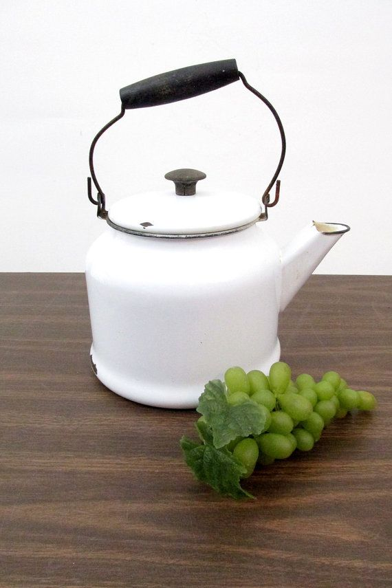 Vintage Enamel Kettle / White Enamelware Tea by CreekLifeTreasures  #Enamelware #Teapot #Farmhouse