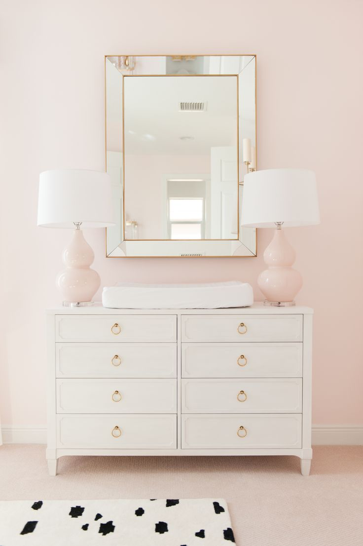 Feminine Pink and Gold Nursery - gorgeous changing table and styling!