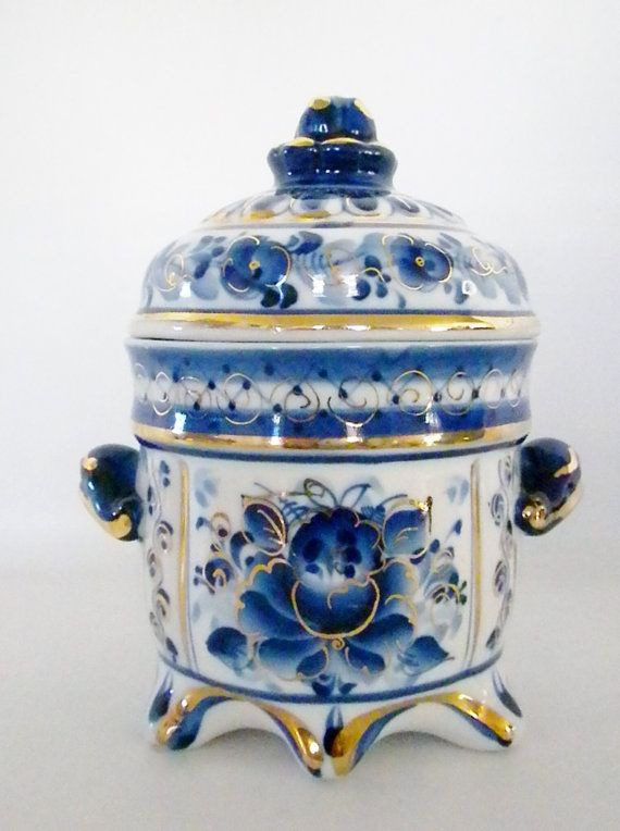 Russian Blue Gold and White Trinket Box Lidded Dish by oldandnew8